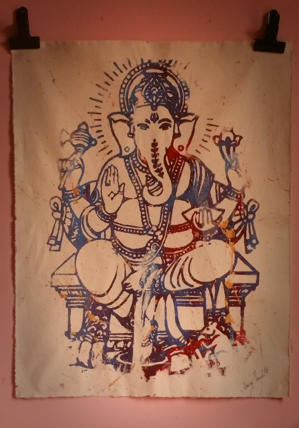 "Image of ""Ganesha"". Original Art, on Canvas, Bike and Subway Maps. From collection: ""Piece of Peace""."