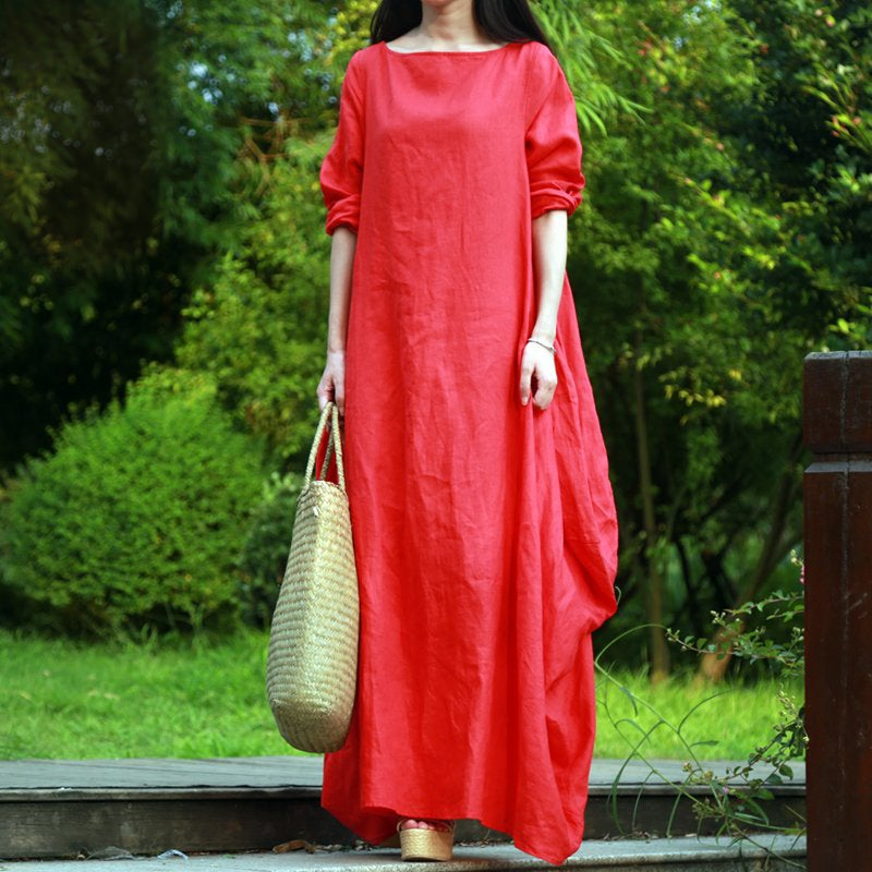 Red/White Loose Casual Plus Size Dresses For Women Clothing