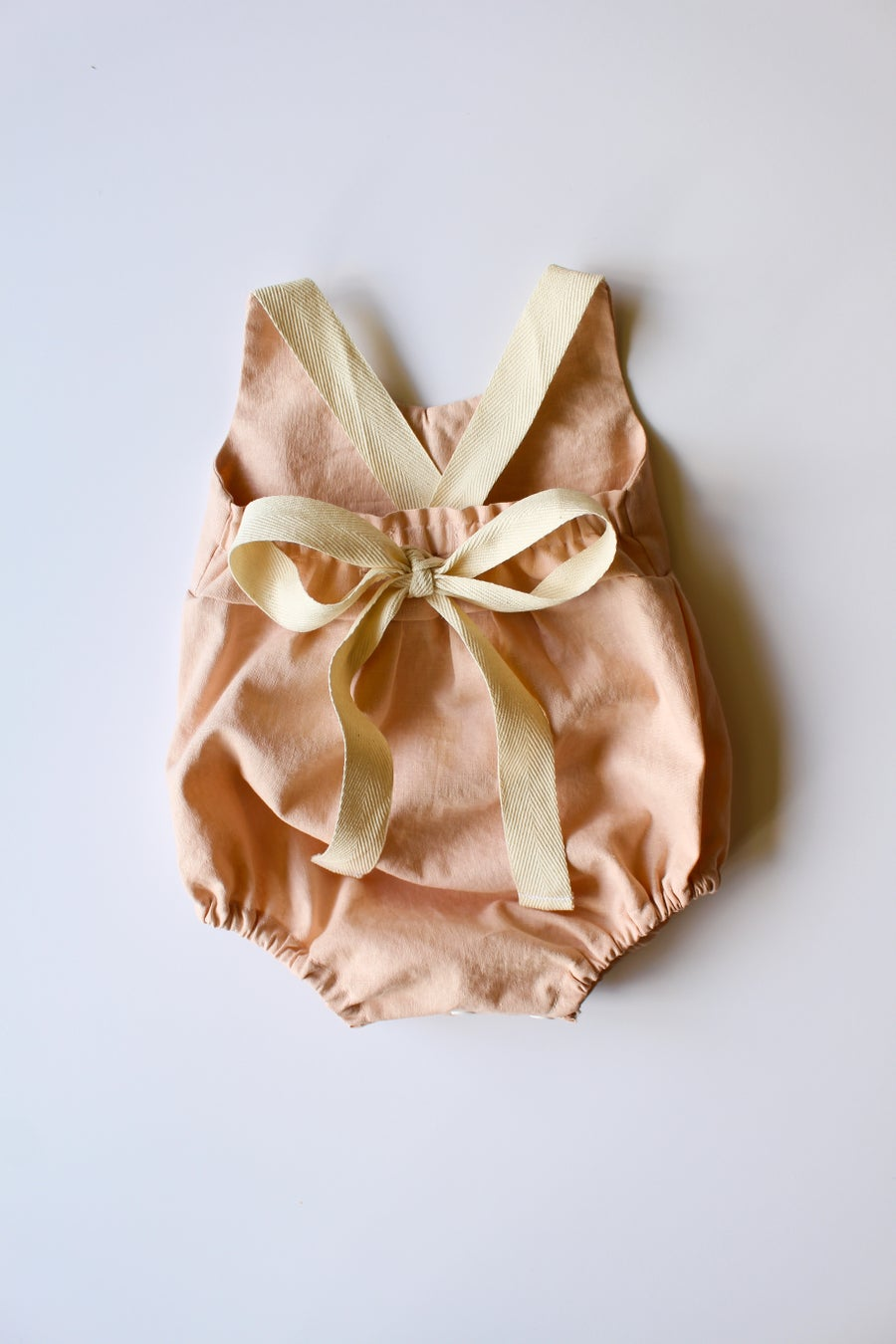 Image of Linen & Lace Back-Tie Romper-- Peach