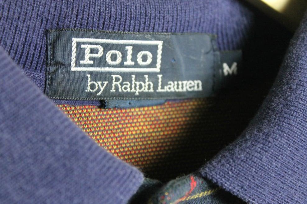 Image of Vintage Navy plaid Ralph Lauren polo