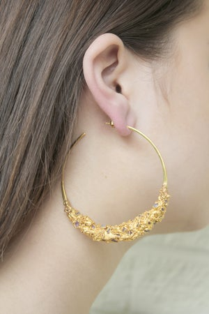 Image of Giant Citrine + Garnet + Yellow Gold Vermeil Encrusted Hoops