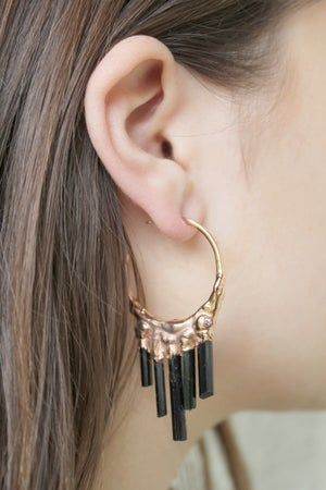 Image of Black Tourmaline + Rose Gold Vermeil Hoops