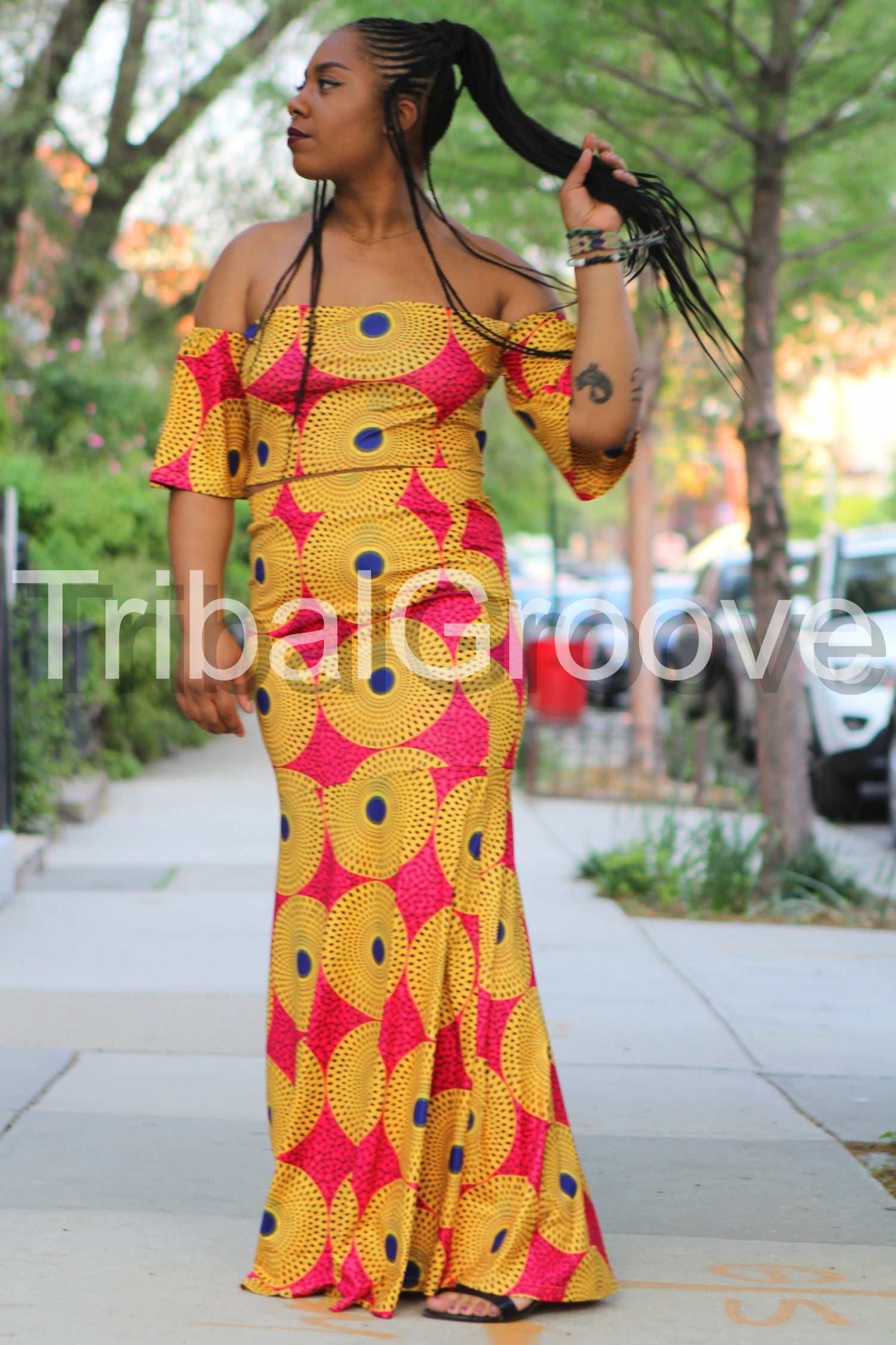 Image of Yellow and Fuchsia Off the Shoulder Fishtail Two Piece Skirt Set