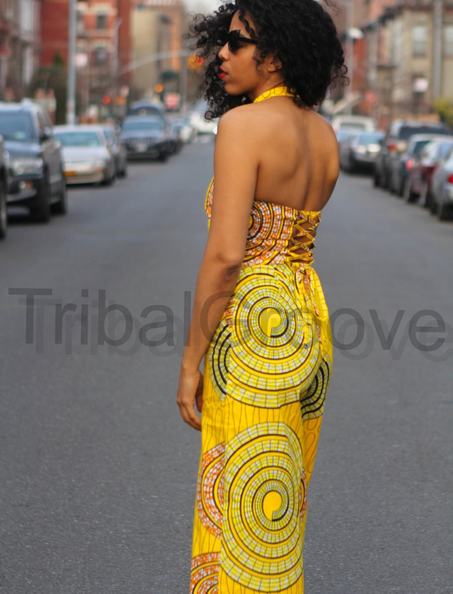 Image of Yellow African Ankara Wax Print Wide Leg Jumpsuit