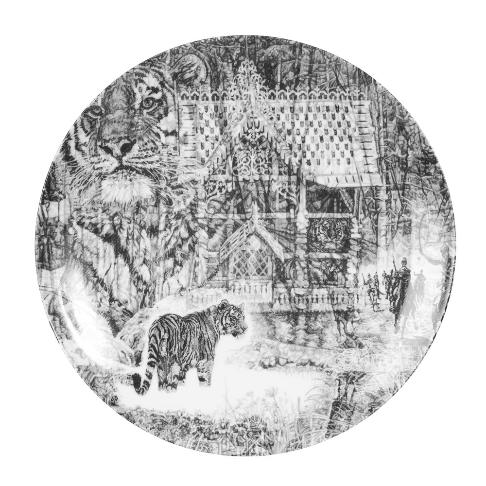Image of SHH, IT'S A TIGER! LIMITED EDITION FINE ENGLISH BONE CHINA COUPE PLATE