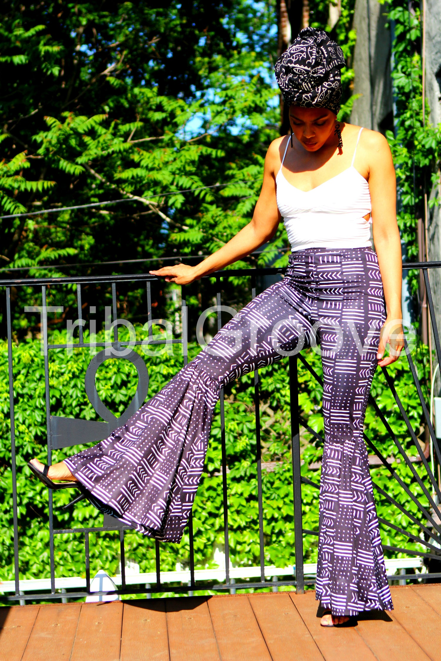 Image of MudCloth Black and White High Waist Flare Bell Bottom Leg Pants