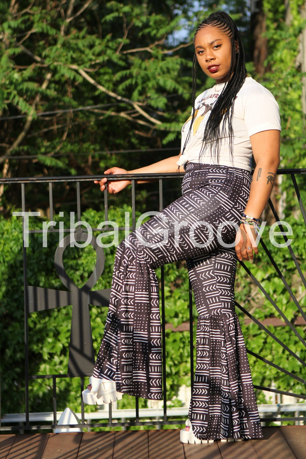 Image of Mudcloth Collection - Black and White High Waist Flare Bell Bottom Leg Pants