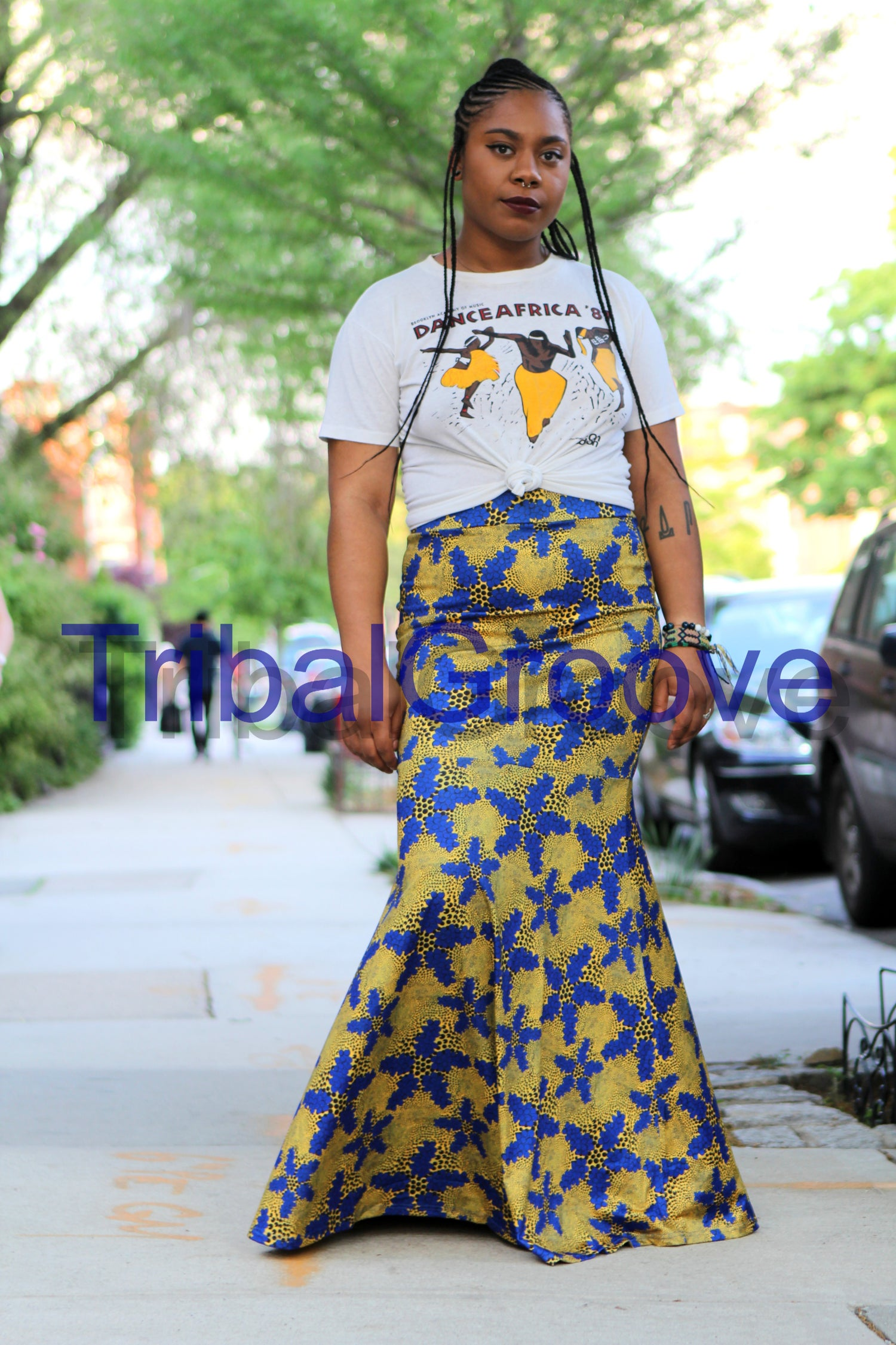 Image of Yellow and Blue African Print Off the Shoulder Fishtail Skirt Set