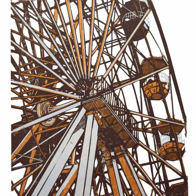 Image of Big Wheel - linocut print