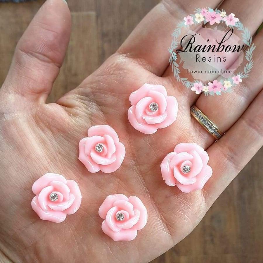Image of Pink diamante roses x 10