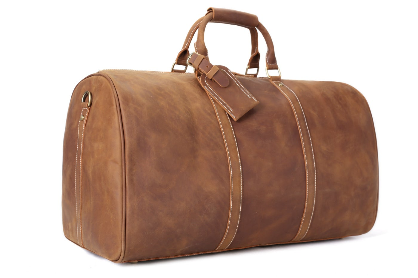 Image Of Handmade Large Vintage Full Grain Leather Travel Bag Duffle Holdall Luggage