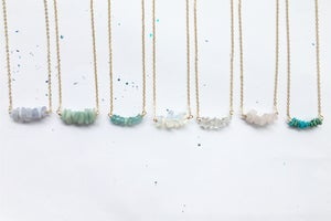 Image of Simple Row Necklaces  - Gold Plated Brass or Sterling Silver