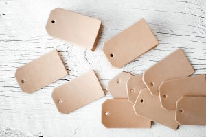 Image of 100 Blank Pre Punched Leather Luggage Tag Cut Outs