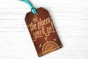 Image of Leather Luggage Tag - Oh, The Places You'll Go - Dr Seuss Quote - No. 2