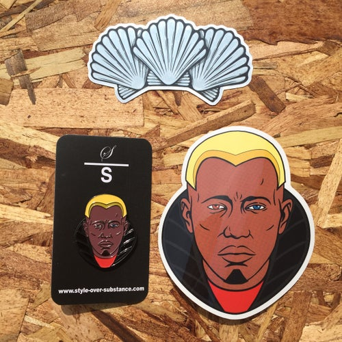 Image of Simon Phoenix by Doaly (Pin + Stickers)