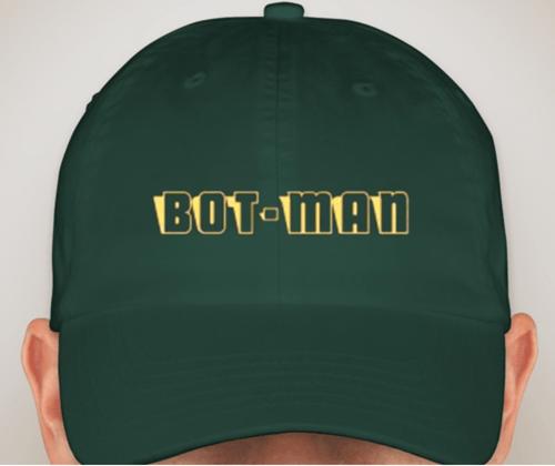 Image of Bot-Man logo Hats Black/Light Blue/Forest Green