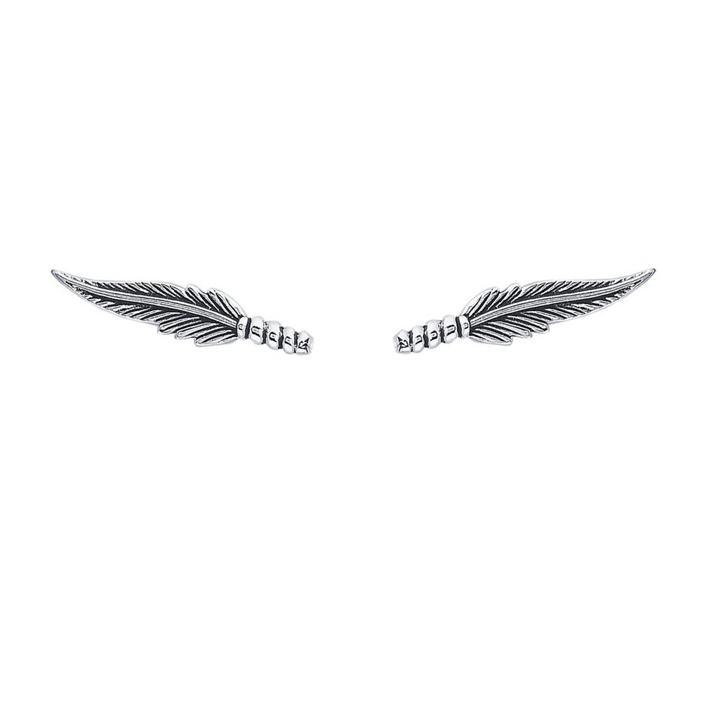 Image of Feather Ear Climbers - Sterling Silver