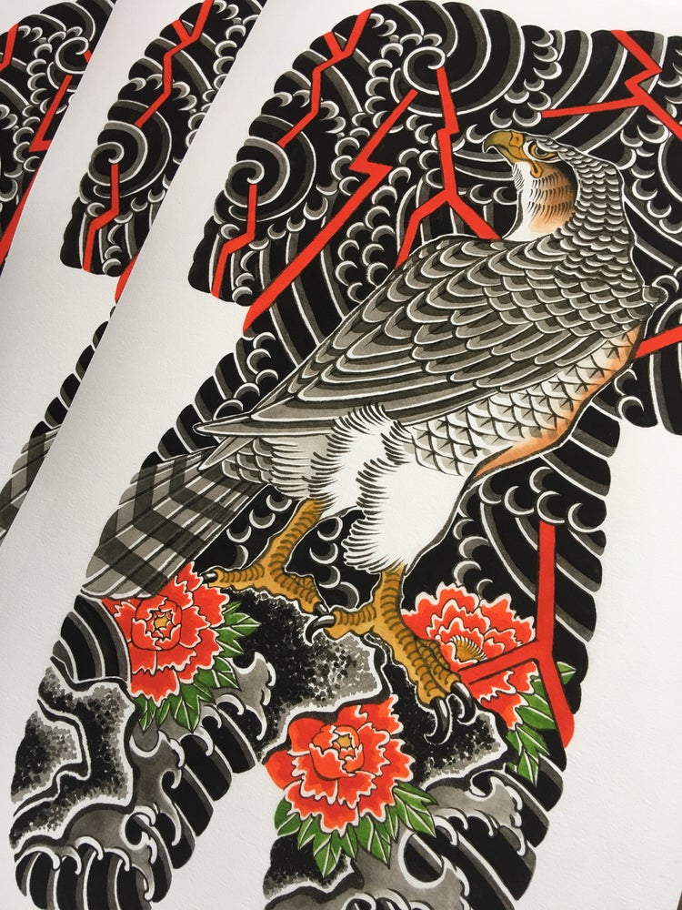 Image of Hawk backpiece by Yutaro