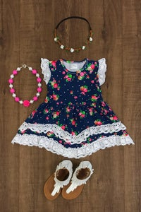 Image of Blue Floral and Lace Dress, infant, toddler, girl, summer, photos sister sets