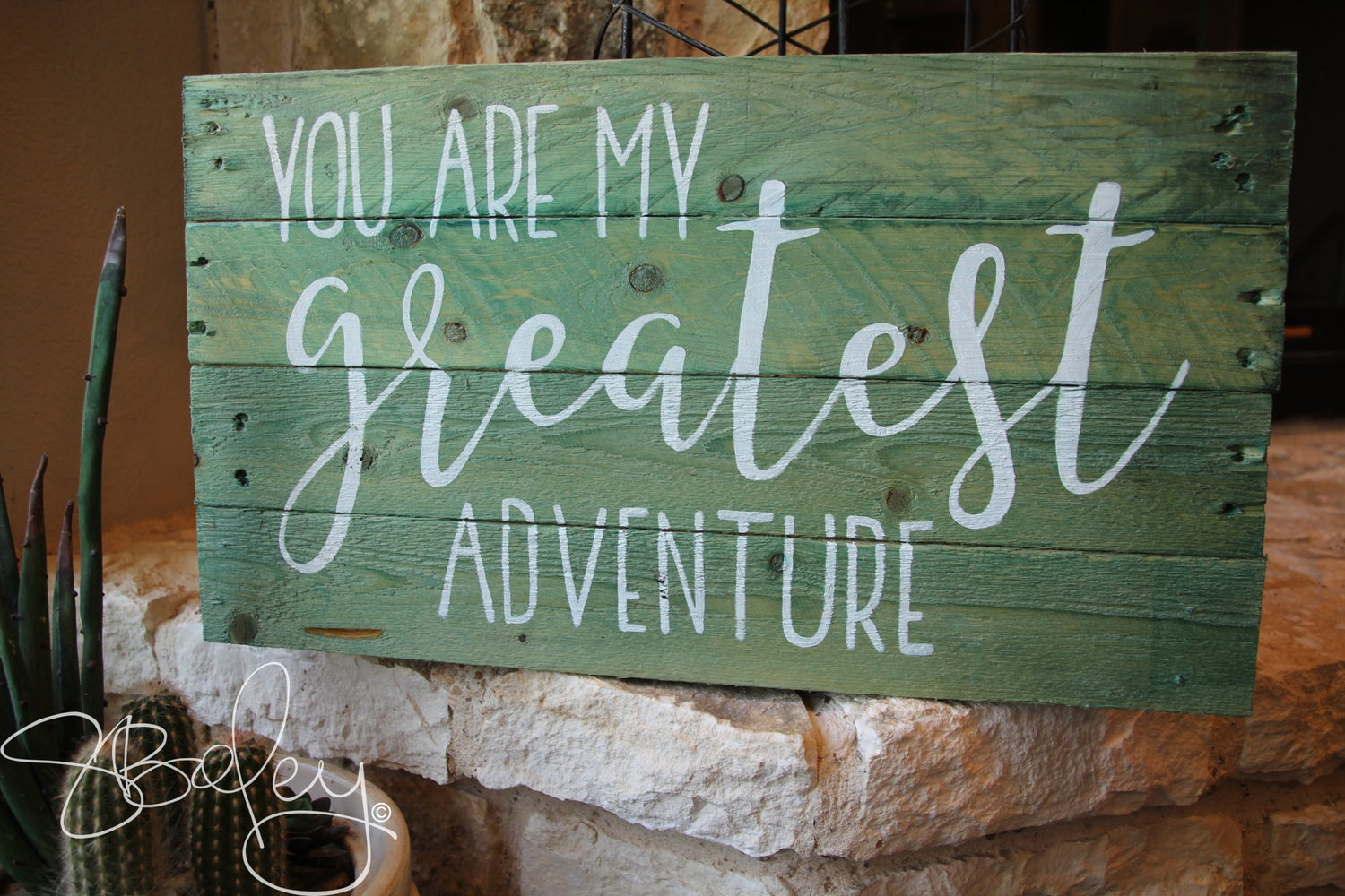 Image of Reclaimed, Dyed, Hand Painted Wood Sign - Greatest Adventure
