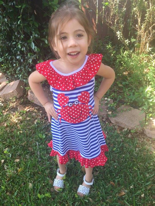 Infantile Red White And Blue Striped Crab Dress Baby Toddler