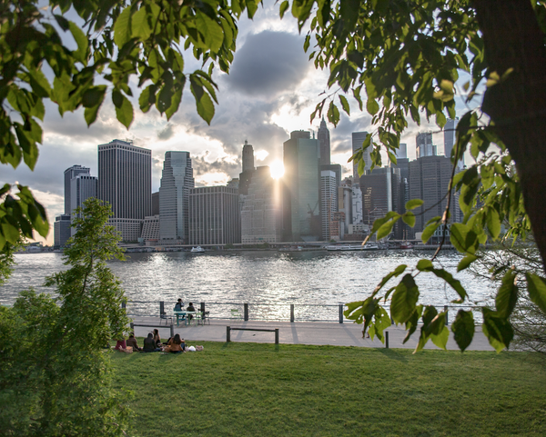 Image of Lower Manhattan City Skyline Sunset