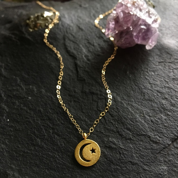 Image of Moon & Star disc charm necklace