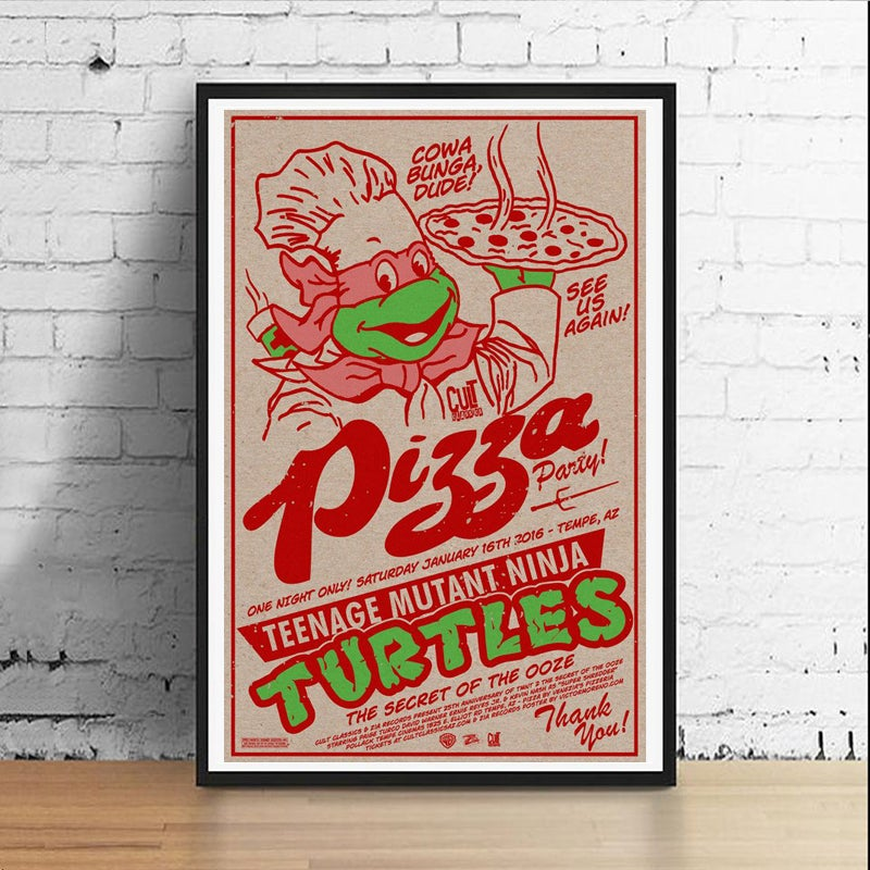 Image of Ninja Pizza Party 11 x 17 Art Print (Raphael)