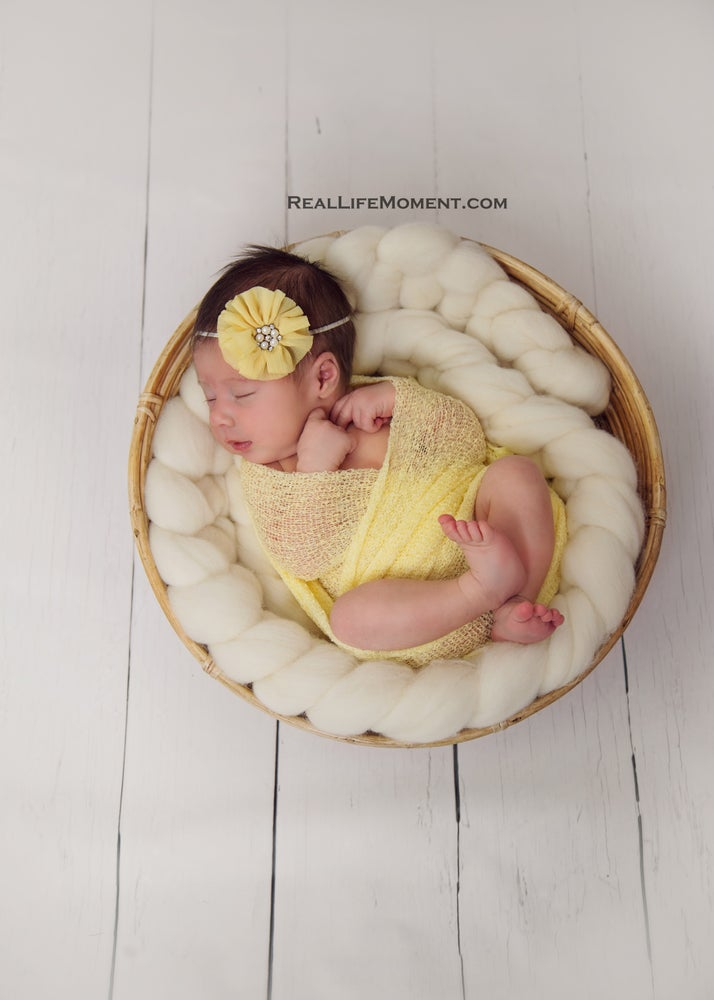 Image of Braid Newborn prop, cream wool braid, thick plait, basket filler, basket stuffer, photographer gift,