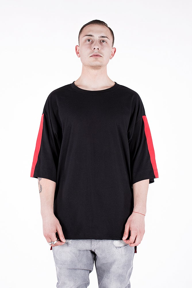 Image of U-F Stripe Oversized  Tshirt Red