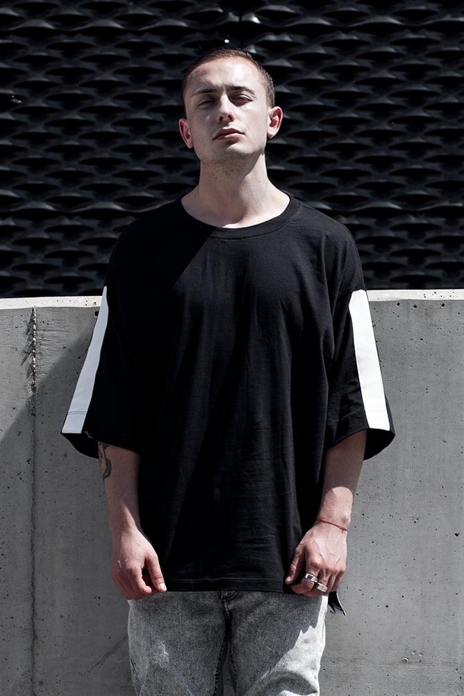 Image of U-F Stripe Oversized  Tshirt White