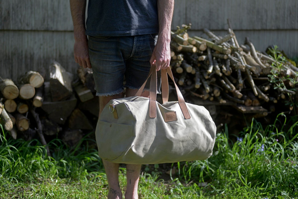 Image of Waxed Canvas Duffle Bag - Olive