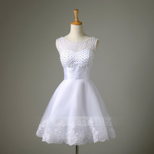 Image of White Lace Applique Illusion Tulle Beaded Waistband A Line Cocktail Party Dress With V Back