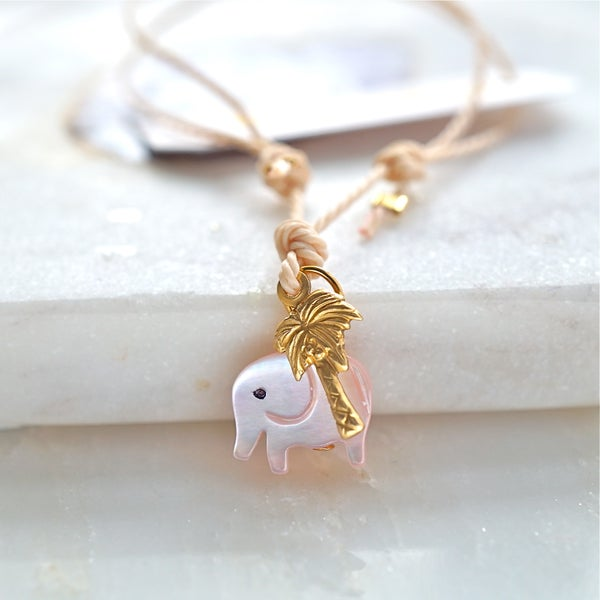 Image of Elephant and palmtree friendship bracelet