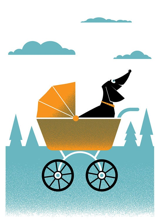 Image of Weiner Dog Stroller Print