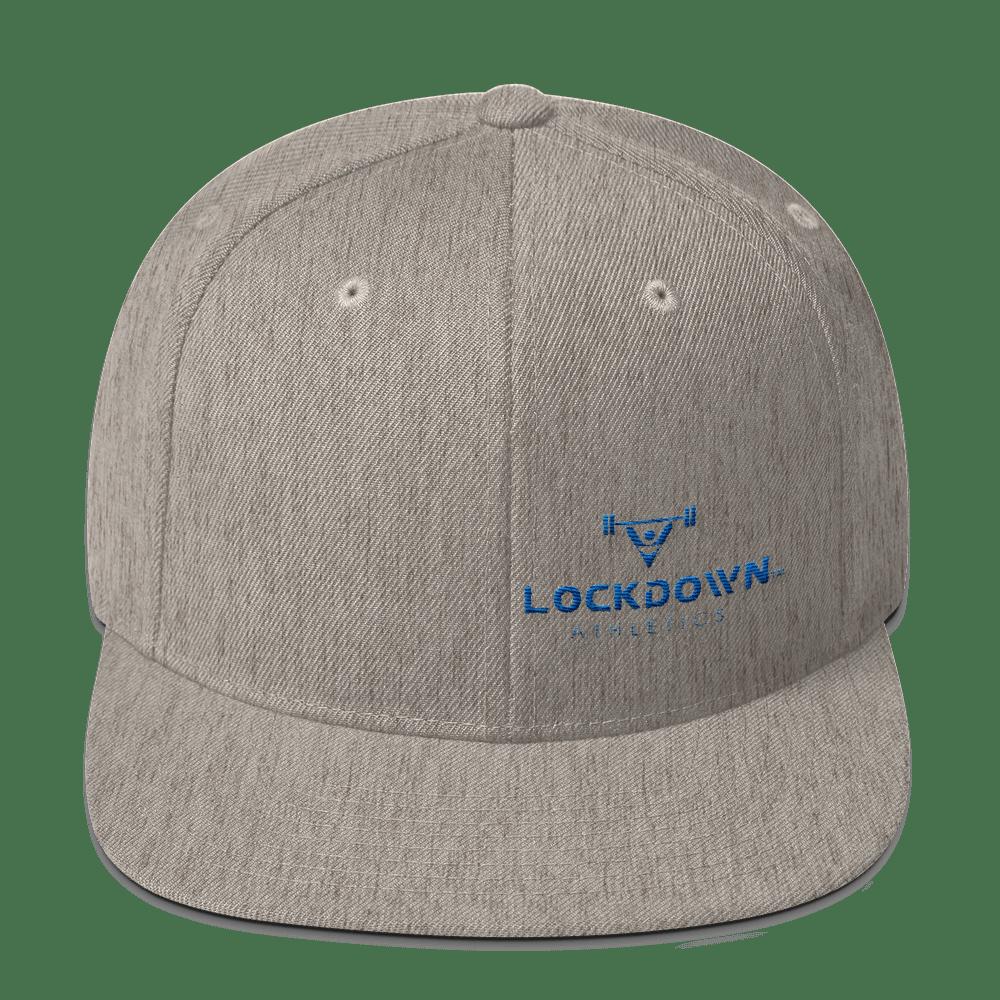 Image of Heather Grey Snapback Cap w/Blue Logo (offset)