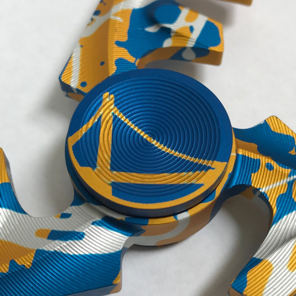 "Image of Aluminum ""Golden State Warriors"" Triple ""F"" Fidget Toy Spinner w/ Full Ceramic Bearing"