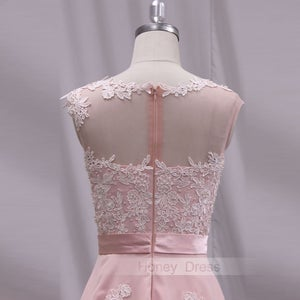 Image of Pink Chiffon Lace Applique Illusion A-line Long Prom Dress With Zipper Back