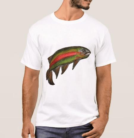 Image of Men's Rainbow Trout Crew Neck T-Shirt
