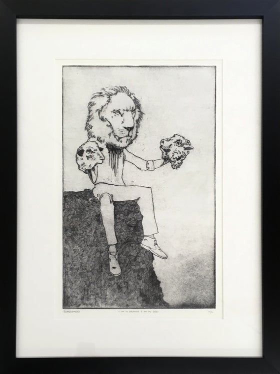 "Image of ""I am my predator - I am my prey"" intaglio etching / edition of 50. Framed"