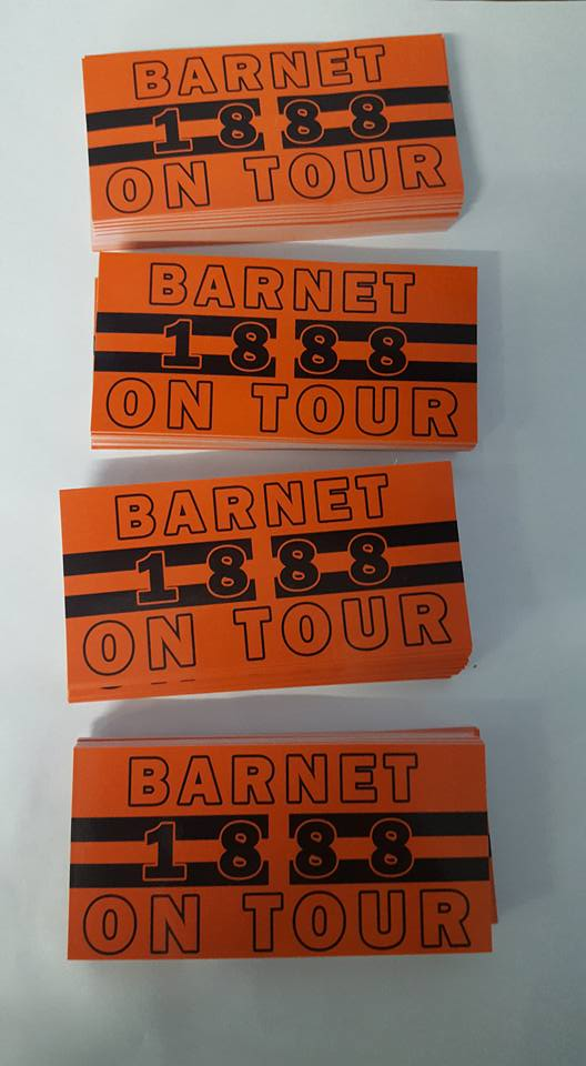 Barnet On Tour Football/Ultras 10x5cm Stickers. Pack of 25. Brand New.