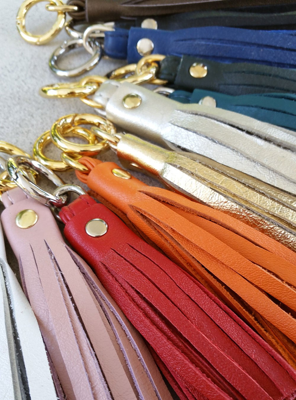 Genuine Leather Tassel - Handbag Charm - 3 Sizes - Gold   Nickel Finishes -  25 Leather Colors  a9fa660ab763b