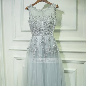 Image of Sliver Gray Tulle Lace Applique Illusion A-Line Waistband Long Prom Gown With Back Zipper