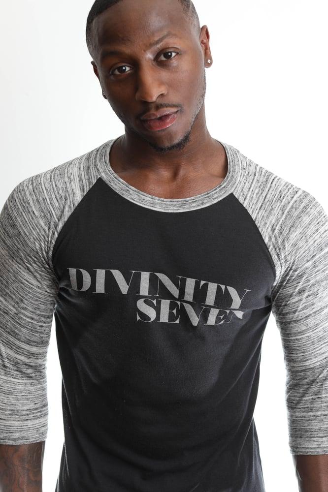 Image of DiVinity Seven Script Baseball T-shirt Grey