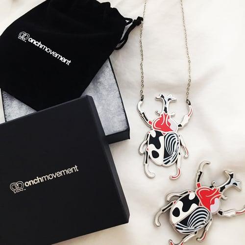 Image of Psychedelic Unicorn Beetle Necklace