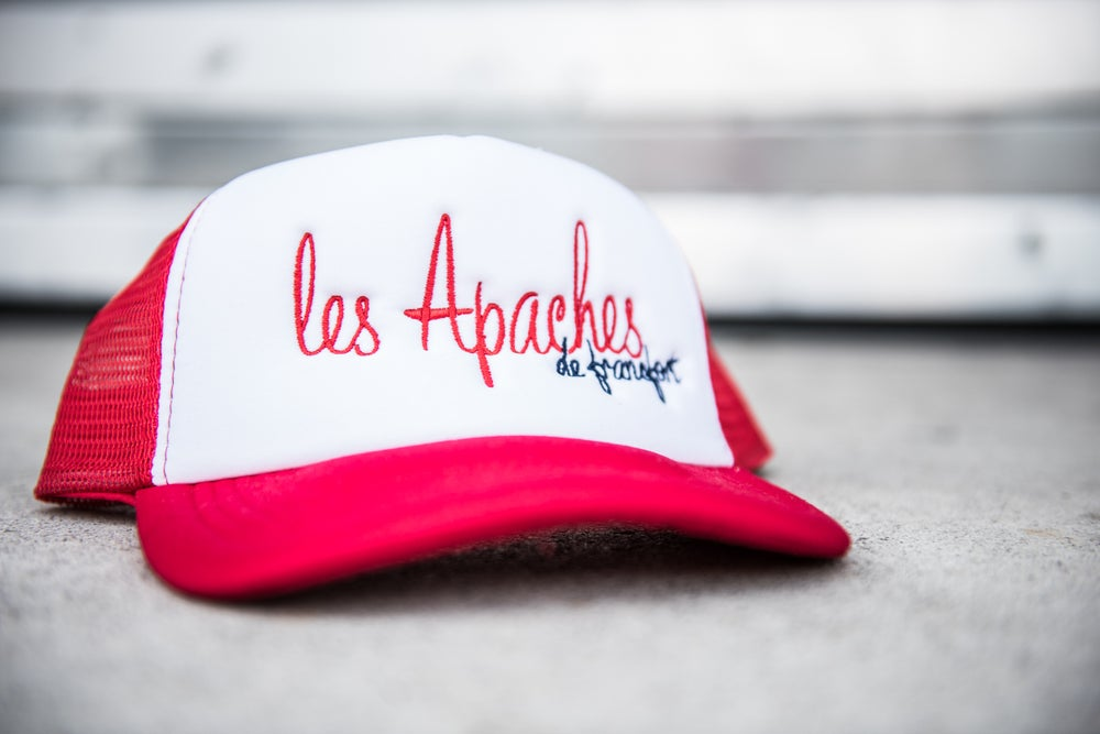 Image of Les Apaches de Francfort Logo Trucker Cap White/Red