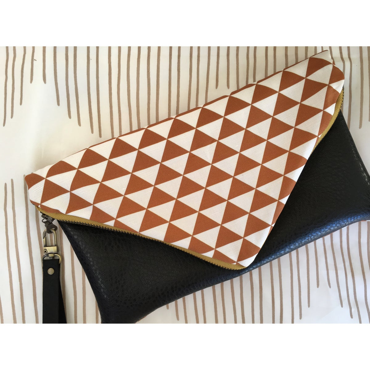 Image of Mustard Brown Mano Envelope Clutch or Crossbody