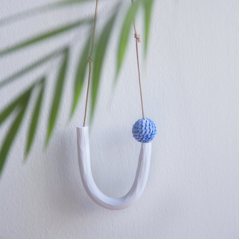 Image of China Blue Up Bent Handmade Necklace