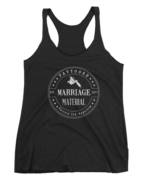 Image of Tattooed Marriage Material Triblend Tank Black