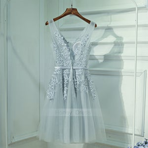 Image of Sliver Gray Tulle V-Neck Lace Applique Waistband Short Homecoming Dress, A Line Cocktail Dresses